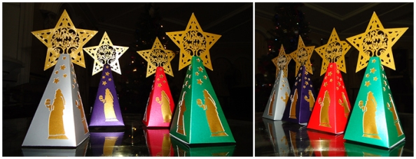 Christmas themed favour boxes featuring the 3 wise men following the star