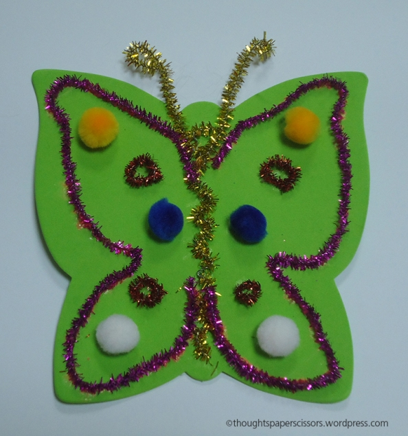 My second sample a butterfly using mainly pipe cleaners and pom poms