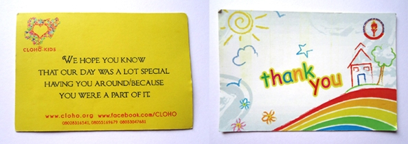 A thank you card from Christ the Light of Our Hope Orphanage
