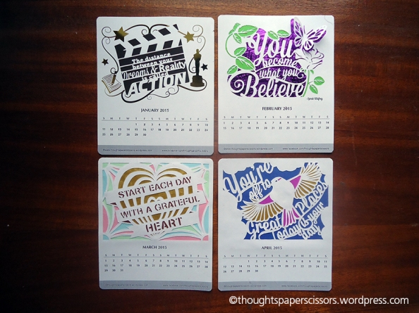 January to April of the 2015 Monthly Calendar Project