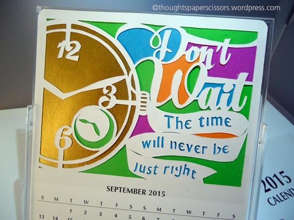 Close up detail September 2015 calendar