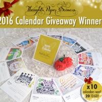 2016 Calendar Giveaway Winners (1st Draw)