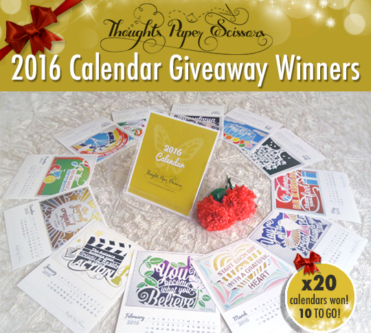 2nd Round Winners: 2016 Calendar Giveaway