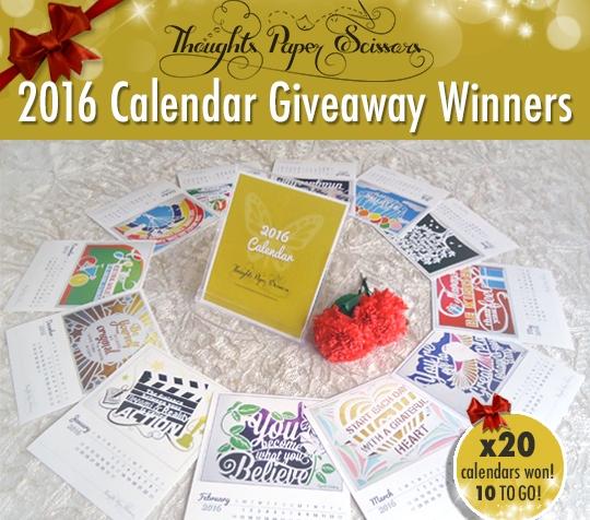 2nd Round Winners: 2016 CalendarGiveaway