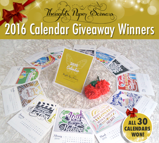 Final draw Winners : 2016 Calendar Giveaway